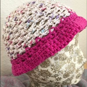Pink cotton sun hat - small